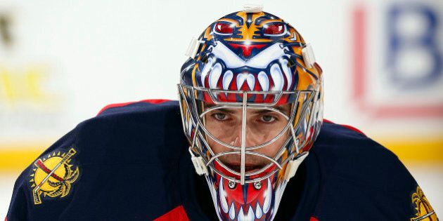 SUNRISE, FL - MARCH 31: Goaltender Al Montoya #35 of the Florida Panthers glides on the ice during warm...