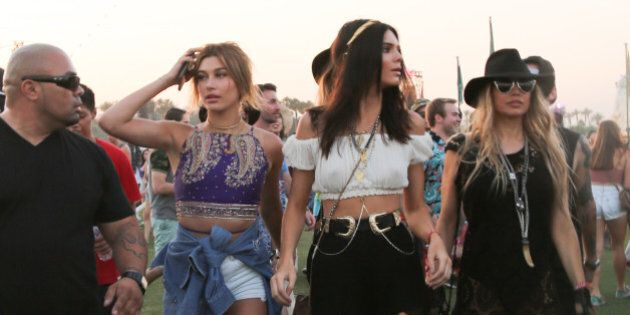 Kendall Jenner along with Fergie of The Black Eye Peas is spotted on day 2 of the Coachella Music Festival...