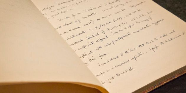 A page from the hand-written notebook by Alan Turing, the World War II code-breaking genius depicted...
