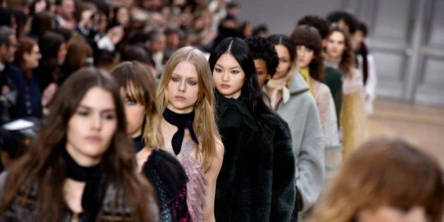 Models wear creations for Chloe's fall-winter 2016-2017 ready to wear fashion collection presented Thursday,...