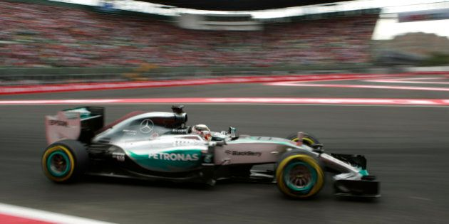 Mercedes driver Lewis Hamilton of Britain steers his car during qualifying for the Formula One Mexico...