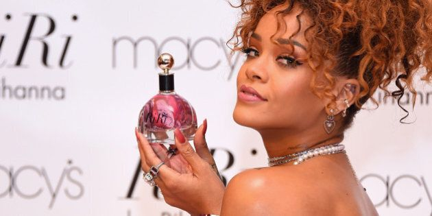 NEW YORK, NY - AUGUST 31: Singer Rihanna attends the RiRi by Rihanna fragrance unveiling at Macy's Downtown...
