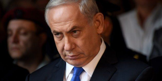 Israeli Prime Minister Benjamin Netanyahu attends a memorial service marking the 20th anniversary of...