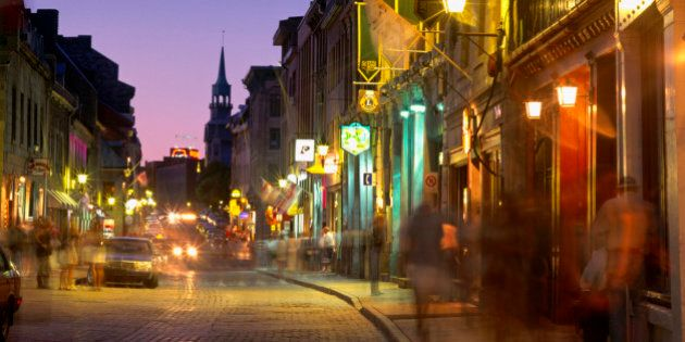 Saint-Paul Street in Old Montreal at Twilight, Montreal,
