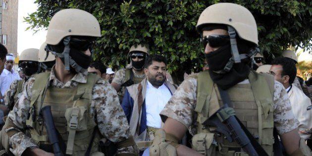 SANAA, YEMEN - NOVEMBER 30: Yemeni forces take security measurement as Houthis gather to celebrate the...