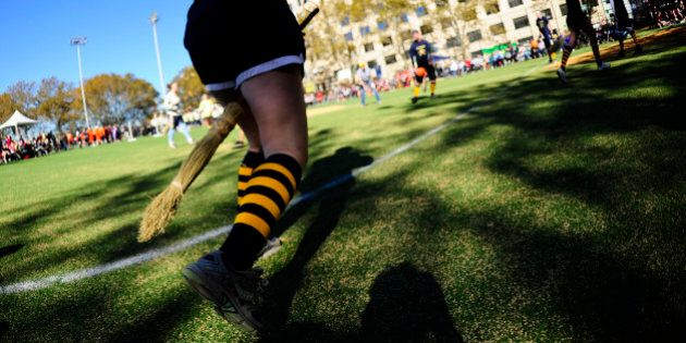 Competitors take part in a match of Quidditch, Harry Potter's magical and fictional game, during the 4th Quidditch World Cup in New York on November 13, 2010. Quidditch, the brainchild of Harry Potter author J.K. Rowling, has taken flight in some 400 colleges and 300 high schools in North America, getting its start in 2005 at Middlebury College, Vermont. Hundreds of competitors took over a Manhattan park to participate in the game's fourth world cup.         AFP PHOTO/Emmanuel Dunand (Photo credit should read EMMANUEL DUNAND/AFP/Getty Images)