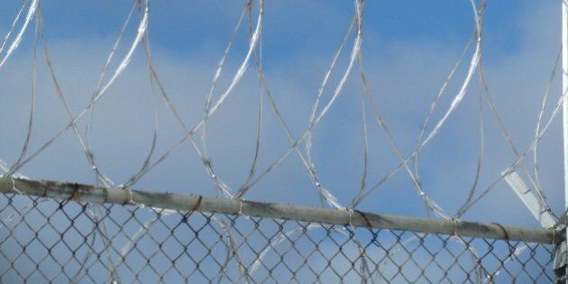 Concertina wire surrounding a prison in Kincheloe,