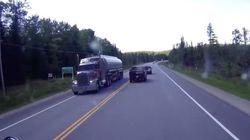 Cette vidéo filmée sur une route du Québec donne la