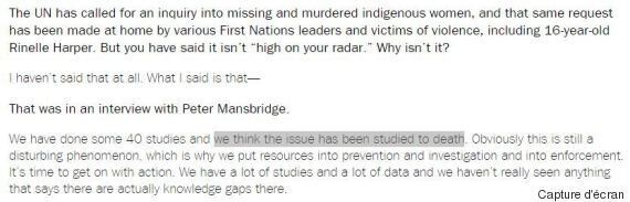 Femmes autochtones disparues et assassinées : l'enjeu a été étudié « à mort », dit Stephen