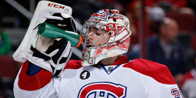 GLENDALE, AZ - MARCH 07: Goaltender Carey Price #31 of the Montreal Canadiens during a break from the...