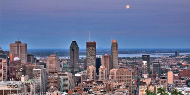 """From the Mont Royal, Montréal's """"mountain"""", one gets an excellent view on the Saint-Laurent river..."""