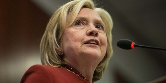 Former US Secretary of State Hillary Clinton speaks at Syracuse Universitys S.I. Newhouse School of Public...
