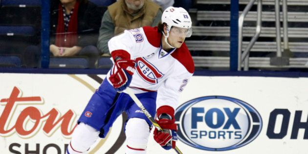 Montreal Canadiens' Nathan Beaulieu carries the puck against the Columbus Blue Jackets during an NHL...