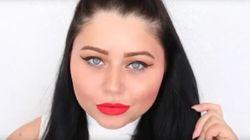 Elle réalise un maquillage complet en n'utilisant que du rouge à lèvres liquide