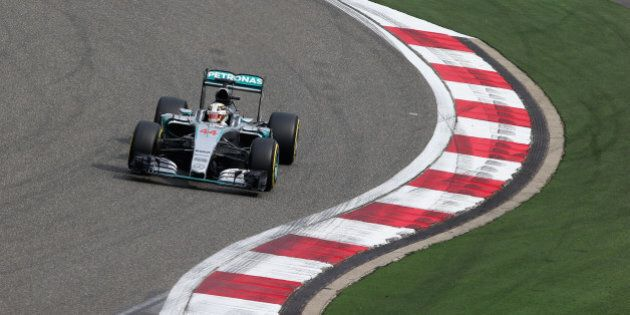SHANGHAI, CHINA - APRIL 10: Lewis Hamilton of Great Britain and Mercedes GP drives during practice for...