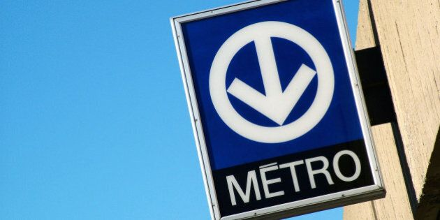 Metro transit sign in Montreal Canada.