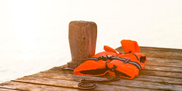 Life vest on jetty, Sandham, Sweden