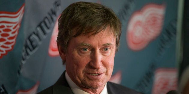 DETROIT, MI - JUNE 14: Wayne Gretzky talks to the media during the Gordie Howe public visitation at Joe...