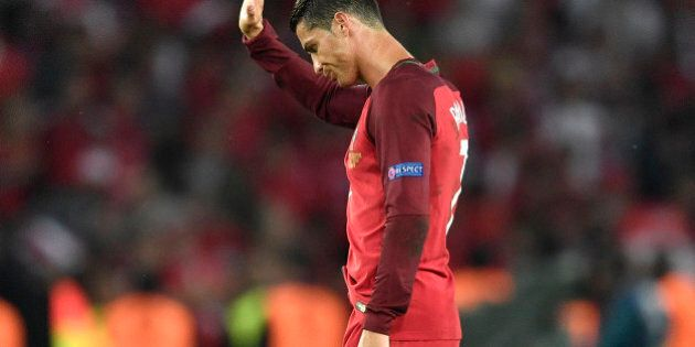 Portugal's Cristiano Ronaldo gestures to the supporters at the end of the Euro 2016 Group F soccer match...