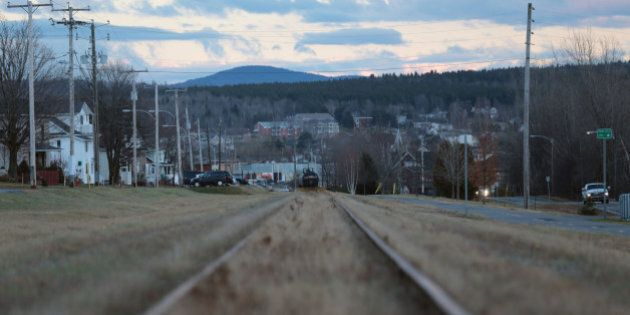 LAC-MEGANTIC, QUE - NOVEMBER 19: A view of the down hill sloping track towards downtown Lac-Megantic where a runaway MMA train rolled and eventually derailed. A sole remaining tanker car can be seen in the center. The July 6, 2013 accident killed 42 people with 5 more missing and presumed dead. November 18, 2013.        (Chris So/Toronto Star via Getty Images)