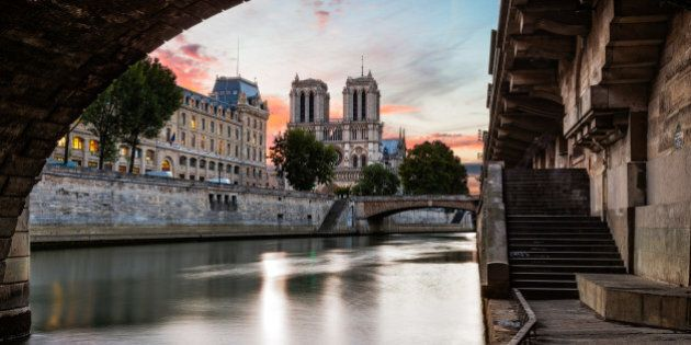 This photo was taken at sunrise from the Seine, including the 'Quai des Grands Augustin'. You can see...