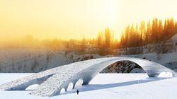 Ce pont de glace de 100 mètres de long est un hommage à De Vinci