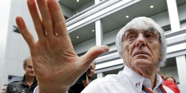 Formula One supremo Bernie Ecclestone speaks to the media at the paddock area ahead of the Russian F1...