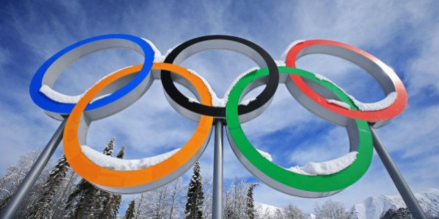 SOCHI, RUSSIA - FEBRUARY 19: Snow collects on the Olympic Rings during day 12 of the 2014 Sochi Winter...