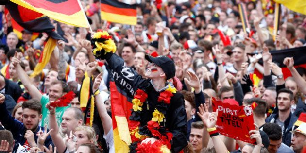 Fans of Germany celebrate minutes before they watch the Euro 2016 match between Germany and Ukraine in...