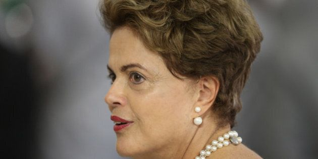 Brazil's President Dilma Rousseff attends a meeting with members of the Women's Handball national team,...