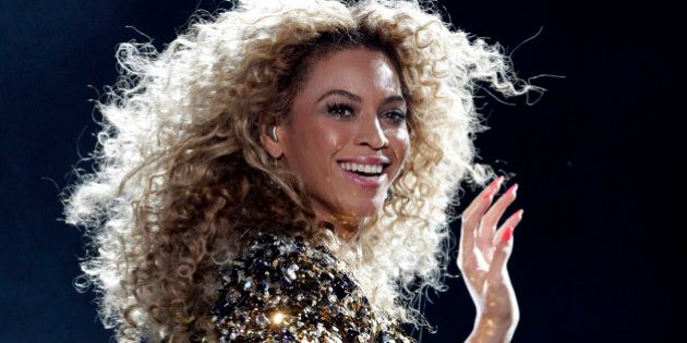 Beyonce performs on the Pyramid stage on the last day of the Glastonbury Festival in Somerset June 26,...