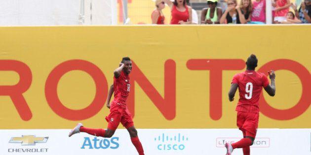 HAMILTON, CANADA - JULY 25: Jusiel Nuñes of Panama celebrates after scoring during the Men's Bronze...