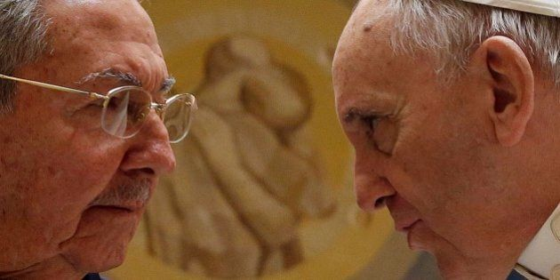Pope Francis meets Cuban President Raul Castro during a private audience at the Vatican, Sunday, May...