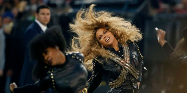FILE - In this Sunday, Feb. 7, 2016, file photo, Beyonce performs during halftime of the NFL Super Bowl...