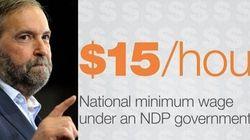 Le NPD promet un salaire minimum à 15$: les partis dénoncent une publicité