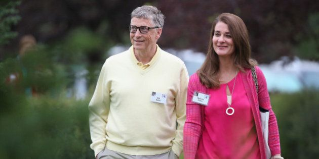 SUN VALLEY, ID - JULY 11: Billionaire Bill Gates, chairman and founder of Microsoft Corp., and his wife...