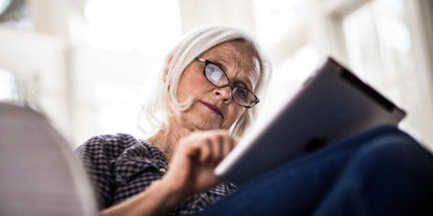 senior woman using