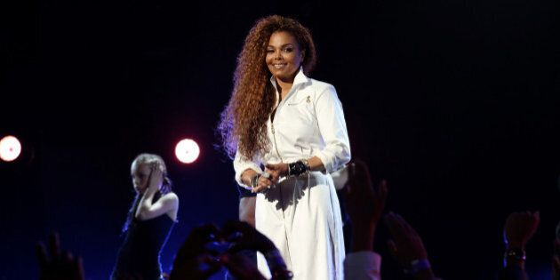 LOS ANGELES, CA - JUNE 28: Honoree Janet Jackson poses backstage during the 2015 BET Awards at the Microsoft...