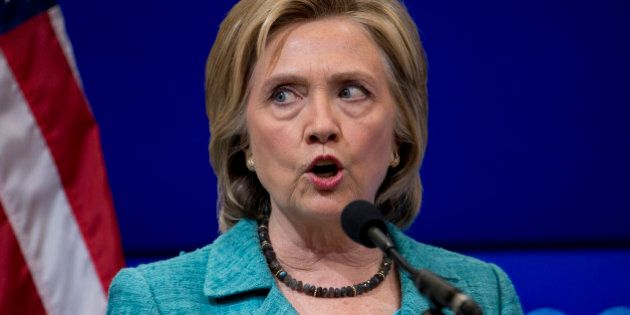 Democratic presidential candidate Hillary Rodham Clinton speaks at the Brookings Institution in Washington,...