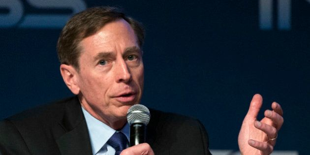 Former CIA director David Petraeus gives a speech at the Institute for National Security Studies (INSS)...