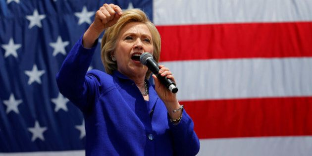 U.S. Democratic presidential candidate Hillary Clinton makes a speech during a campaign stop in Lynwood,...