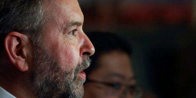TORONTO, ON - JUNE 16: NDP Leader, Thomas Mulcair talks to media at the Toronto downtown Hilton Hotel...