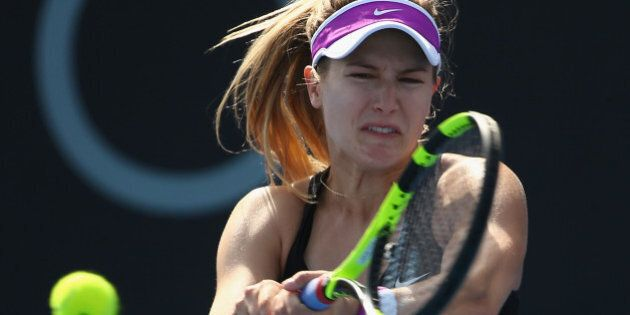 HOBART, AUSTRALIA - JANUARY 11: Eugenie Bouchard of Canada plays a backhand in the women's single's match...