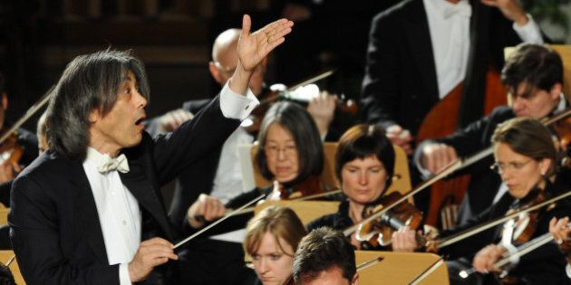 US director Kent Nagano (L) leads the Bavarian State Orchestra or Bayerisches Staatsorchester during...