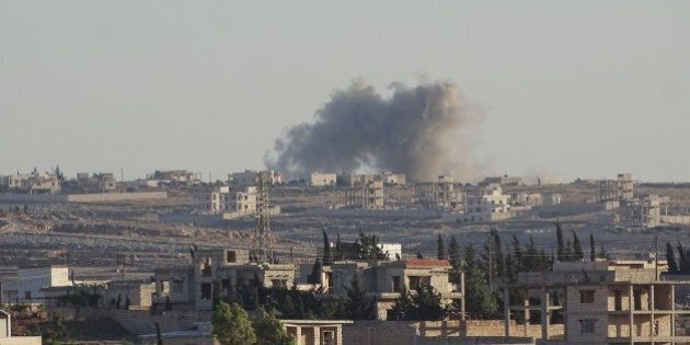 ALEPPO, SYRIA - JUNE 05: Smoke rises after Russian army carried out an airstrike over opposition controlled...