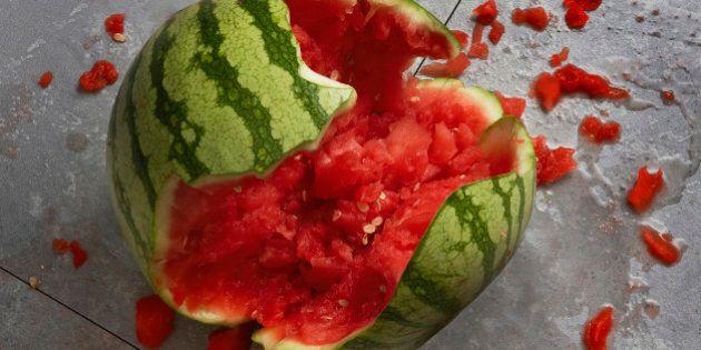 Broken watermelon on