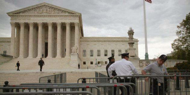 WASHINGTON, DC - APRIL 27: Police are setting up barracades before tomorrow's hearing on gay marriage...