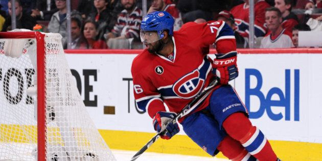 MONTREAL, QC - APRIL 17: P.K. Subban #76 of the Montreal Canadiens skates with the puck during Game Two...