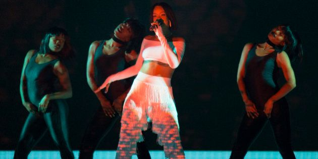 Rihanna on stage during the 2016 Brit Awards at the O2 Arena,