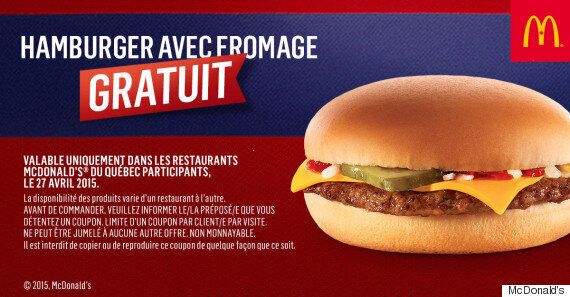 Victoire du Canadien de Montréal: McDonald's offre un « CHeeseburger » gratuit le 27